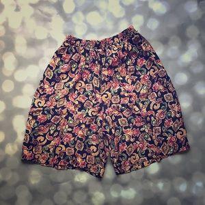 Vintage retro high waisted culottes shorts.boho